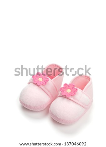 Baby girl pink shoes isolated on white background - stock photo