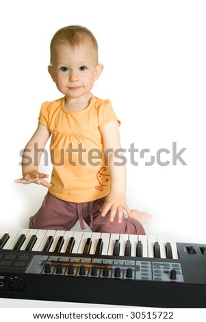 Baby girl play the piano