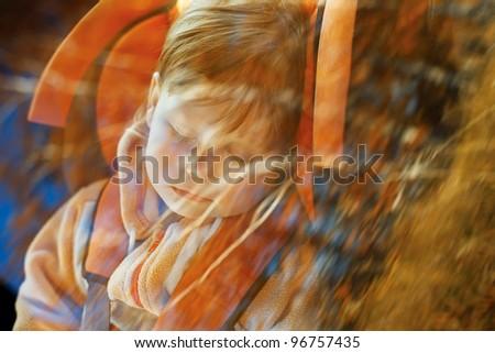 baby girl slip in car - stock photo