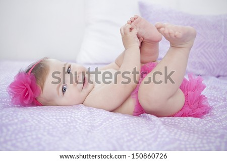 baby girl smiling  - stock photo
