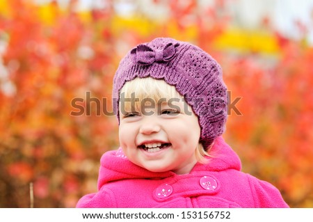 baby girl smiling with dimple cheeks - stock photo