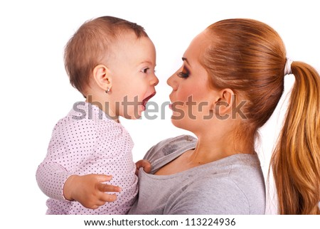 Baby girl talking with mother isolated on white background - stock photo