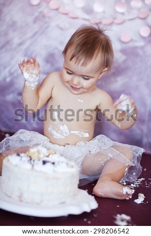 Baby Girl With First Birthday Cake - stock photo