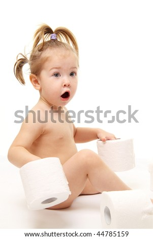 Baby girl with toilet paper isolated on white - stock photo