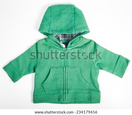 Baby green long sleeve shirt on white background - stock photo