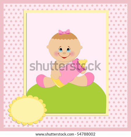 Baby greetings card with girl and bottle