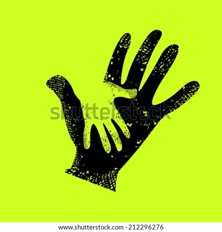baby hand in adult hand. Raster - stock photo