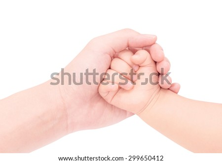 baby hand in hand of love isolated on white background