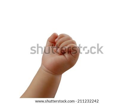 baby hand isolated on white background  - stock photo