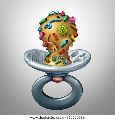 Baby health and childhood illness concept as an infant pacifier contaminated with virus and bacteria cells as a parenting issue for newborn healthcare safety and dangerous hygiene disease risk. - stock photo
