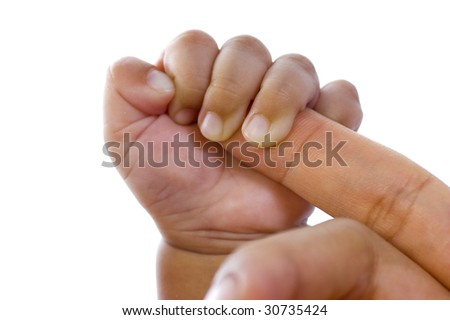 Baby hold mother's finger on white background