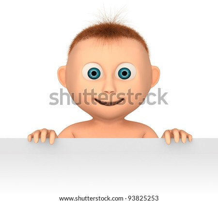 baby holding blank, 3d render isolated on white - stock photo