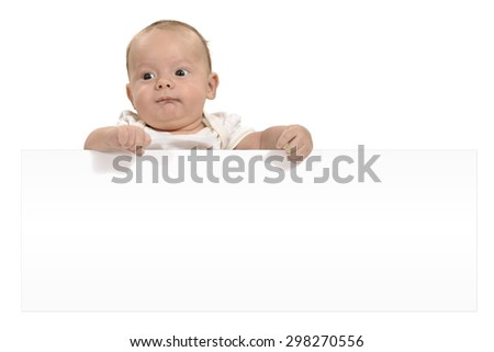 Baby holding copy space poster - stock photo