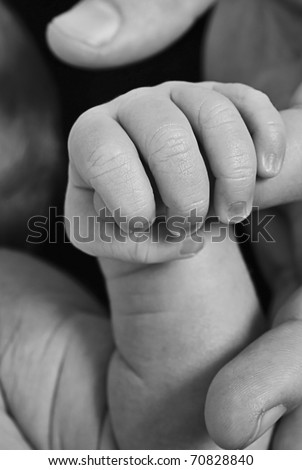 Baby Holding father's finger - stock photo