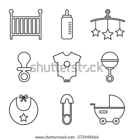 Baby icons isolated on white background. Cot, baby bottle, toys, clothes, rattle, baby pin, baby carriage, bib, soother. Baby icons set. Flat line style illustration.  - stock photo