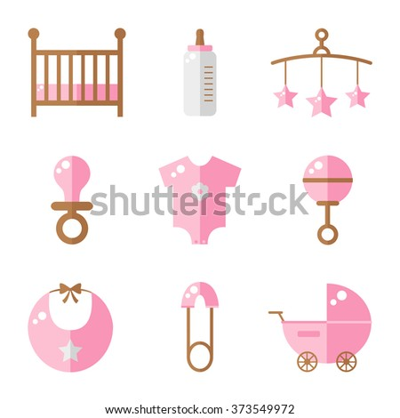 Baby icons isolated on white background. Cot, baby bottle, toys, clothes, rattle, baby pin, baby carriage, bib, soother. Baby girl icons set. Flat style illustration.  - stock photo