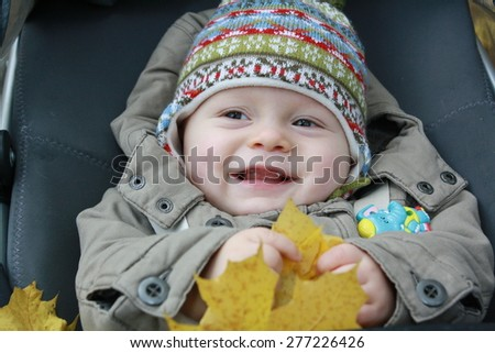 baby in carriage, holding yellow maple leaf, autumn, warm clothes, warm hat and jacket - stock photo