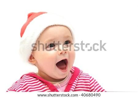 baby in Christmas bonnet over white - stock photo