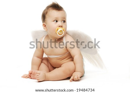 Baby in diapers with angel wings on white floor