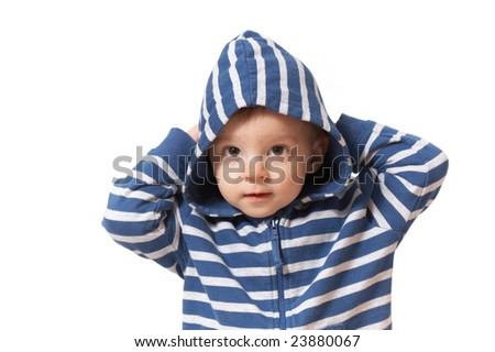 baby in hood with hands up - stock photo