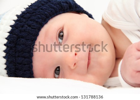 baby in knitted hat