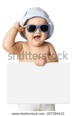 baby in panama and sunglasses holding a banner isolated - stock photo