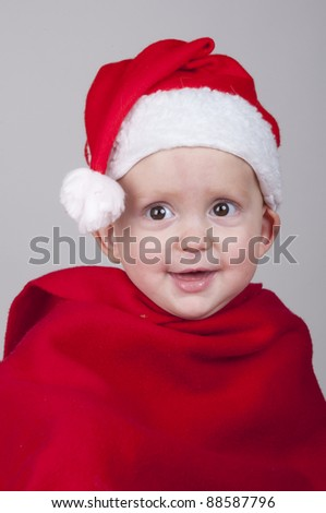 baby in Santa Claus  outfit - stock photo