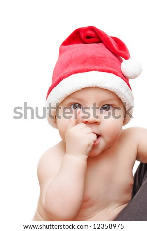 baby in santa's cap - stock photo