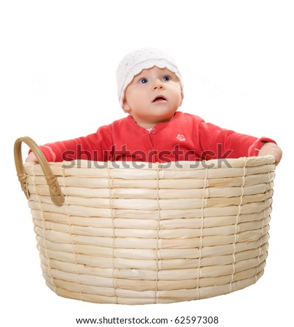 Baby in the basket - stock photo