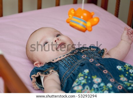 baby in the bed - stock photo