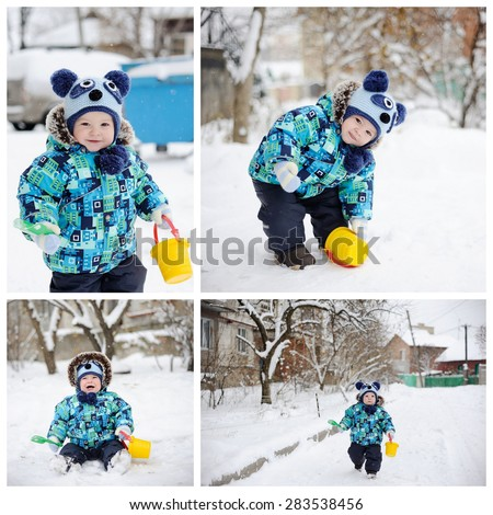 baby in winter clothes in snow
