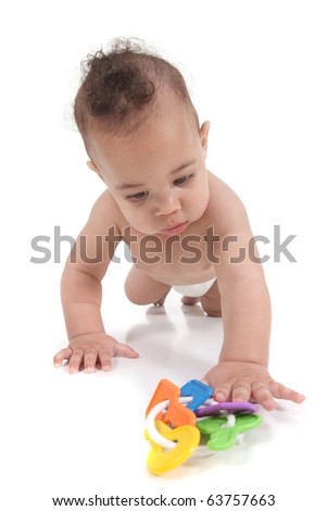 Baby infant little boy crawling towards the viewer - stock photo