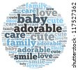 Baby info-text graphics and arrangement concept on white background (word cloud) - stock