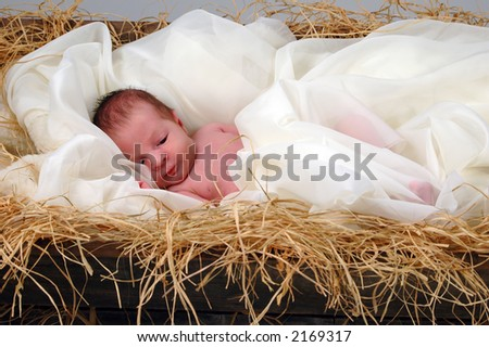 Baby Jesus in a manger - stock photo
