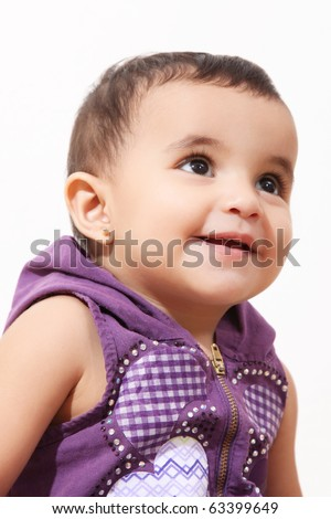 Baby looking up over white background. Isolated image - stock photo