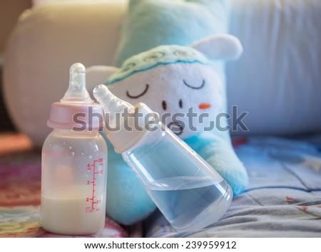 Baby milk bottle. - stock photo