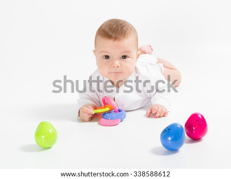 Baby newborn in the shirt closeup isolated on white background. - stock photo