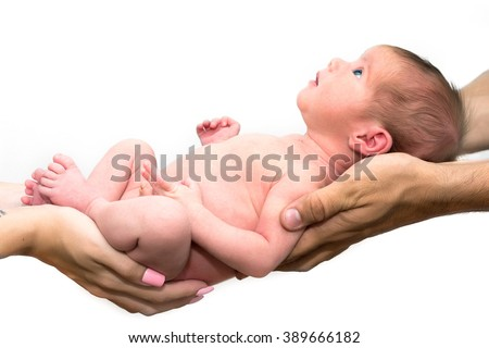 baby newborn on parents hands - stock photo
