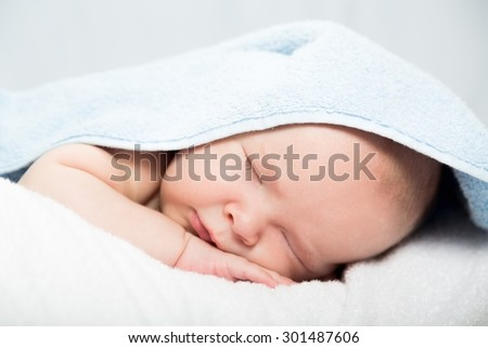 Baby, Newborn, Sleeping. - stock photo