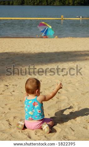 baby on beach - stock photo