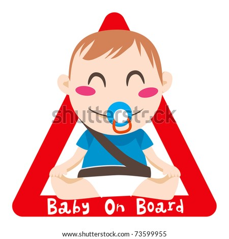 Baby on board red triangle warning sign for vehicle safety with seatbelt - stock photo
