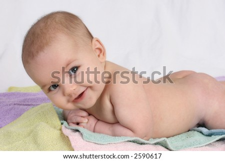 baby on towels - stock photo