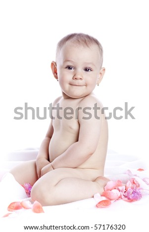baby on white background in studio - stock photo