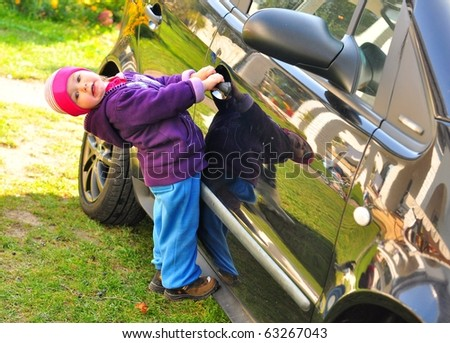 baby open the car - stock photo