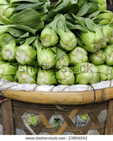 Baby Pak Choy (Chinese Cabbage) at a market in China