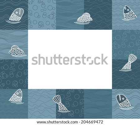 Baby photo frame or card with fishes. Raster version - stock photo