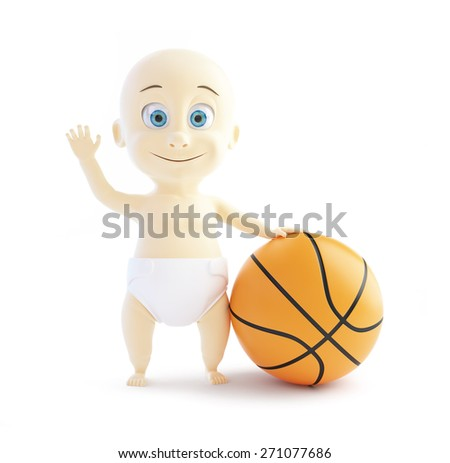baby playing with a basketball on white background - stock photo