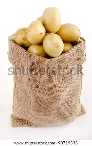 baby potatoes in a small jute bag