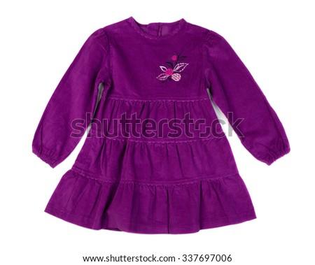 Baby purple velvet dress. Isolate on white - stock photo