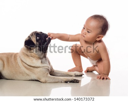 baby put hand inside doggy mouth, good illustration for friendly dog or danger leaving baby with pet unattended